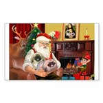 Santa's 2 Pekingese Rectangle Sticker