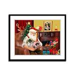 Santa's 2 Pekingese Framed Panel Print