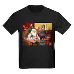 Santa's 2 Pekingese Kids Dark T-Shirt