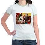 Santa's 2 Pekingese Jr. Ringer T-Shirt