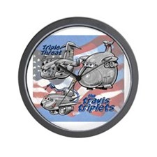 Travis AFB Triplets Wall Clock