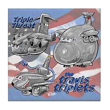 Travis AFB Triplets Tile Coaster