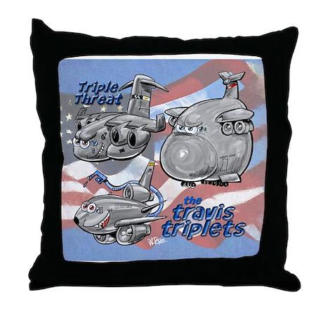 Travis AFB Triplets Throw Pillow