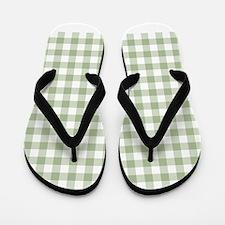 Sage Green Gingham Checked Pattern Flip Flops