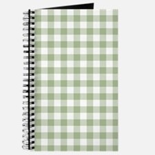 Sage Green Gingham Checked Pattern Journal