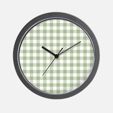 Sage Green Gingham Checked Pattern Wall Clock