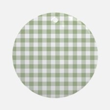 Sage Green Gingham Checked Pattern Round Ornament