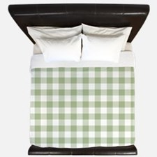 Sage Green Gingham Checked Pattern King Duvet