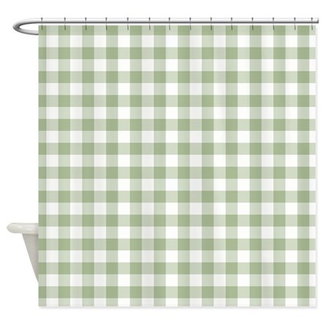 Sage Green Gingham Checked Pattern Shower Curtain