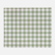 Sage Green Gingham Checked Pattern Throw Blanket