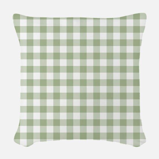 Sage Green Gingham Checked Pat Woven Throw Pillow