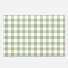 Sage Green Gingham Checke Postcards (Package of 8)