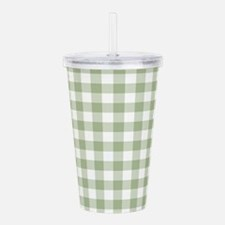 Sage Green Gingham Che Acrylic Double-wall Tumbler