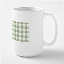 Sage Green Gingham Checked Pattern Mugs