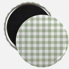 Sage Green Gingham Checked Pattern Magnets