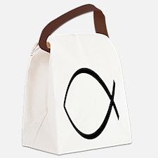 Ichthys Christian Fish Symbol Canvas Lunch Bag