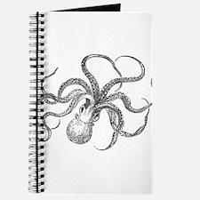 Vintage Octopus Ocean Life Black White Journal
