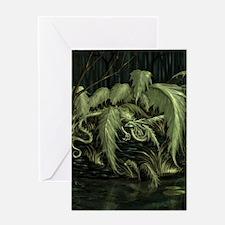 green leaf dragon Greeting Cards