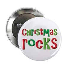 """Christmas Rocks Love Holiday 2.25"""" Button (10 pack"""