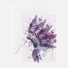 Purple Headdress Greeting Cards