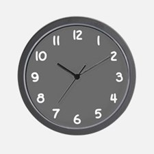 Charcoal Gray and White Wall Clock