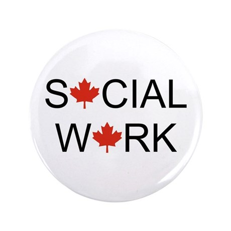"Social Work Maple Leaf 3.5"" Button"