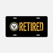 U.S. Navy: Retired (Black) Aluminum License Plate