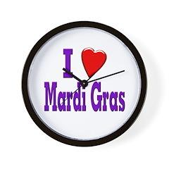 I Love Mardi Gras Wall Clock