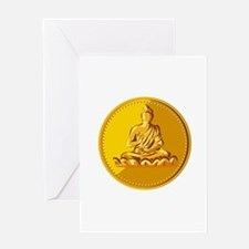 Buddha Gold Coin Medallion Retro Greeting Cards