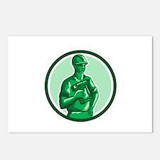 Green Construction Worker Nailgun Circle Retro Pos