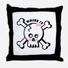 Raise It Skull Throw Pillow