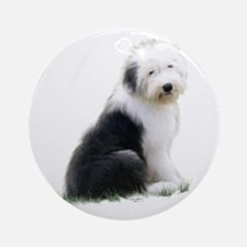 old english sheepdog puppy sitting Round Ornament