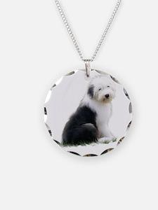 old english sheepdog puppy sitting Necklace