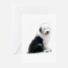 old english sheepdog puppy sitting Greeting Cards