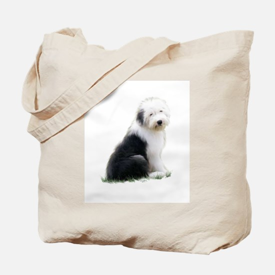 old english sheepdog puppy sitting Tote Bag