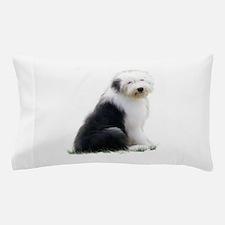 old english sheepdog puppy sitting Pillow Case