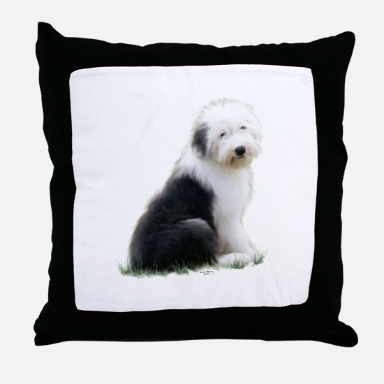 old english sheepdog puppy sitting Throw Pillow