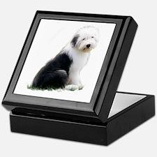 old english sheepdog puppy sitting Keepsake Box