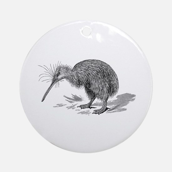 Vintage Kiwi Bird New Zealand Birds Round Ornament