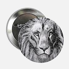 """Vintage Lion Head Lions Black White 2.25"""" Button"""