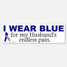 I Wear Blue For My Husband's Pain Bumper Bumper Bumper Sticker