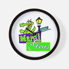 Gator at Mardi Gras  Wall Clock