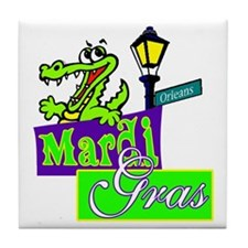 Gator at Mardi Gras  Tile Coaster