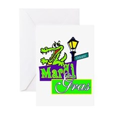 Gator at Mardi Gras Greeting Card