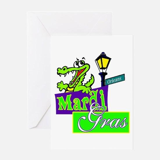 Gator at Mardi Gras Greeting Card