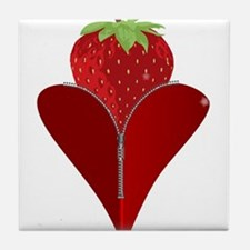 Love Strawberry Tile Coaster