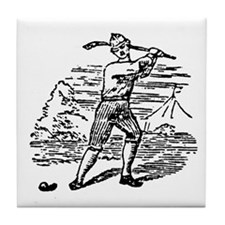 Shinty woodcut Tile Coaster