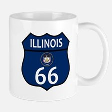Route 66 Illinois Sign and Flag Mugs