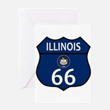 Route 66 Illinois Sign and Flag Greeting Cards