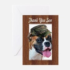 Thank you son Boxer Dog Greeting Cards